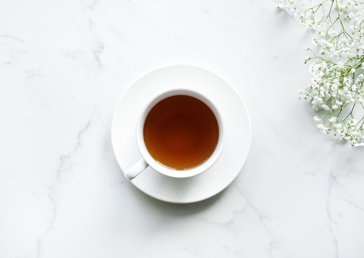 Aerial view of hot tea drink