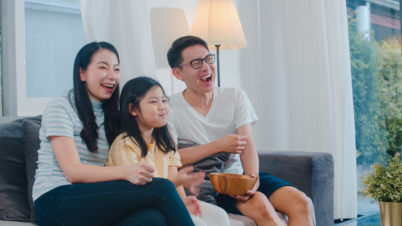 An Asian family streaming films for Independence Day