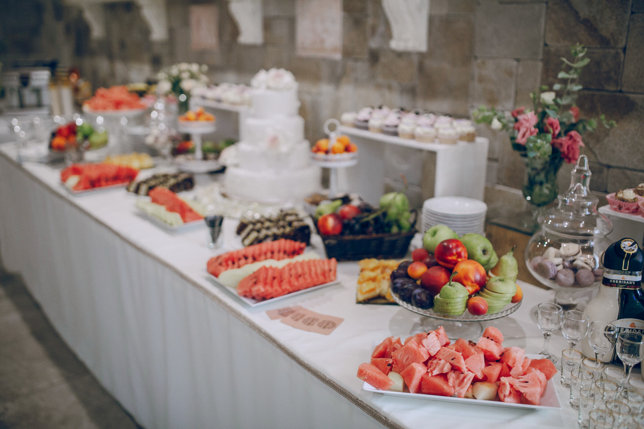 A wedding buffet spread by a hotel